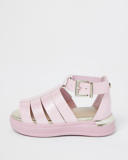 Mini girls caged flat sports sandals