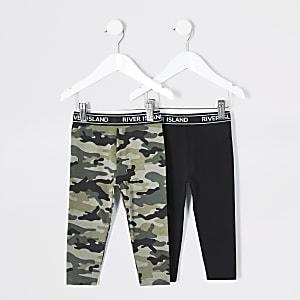 Mini - Set van 2 zwarte en camouflageprint leggings voor meisjes