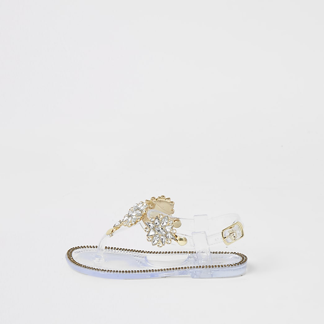 Mini girls clear diamante embellished sandals