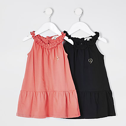 Mini Girls Coral 2 Pack Trapeze Dresses