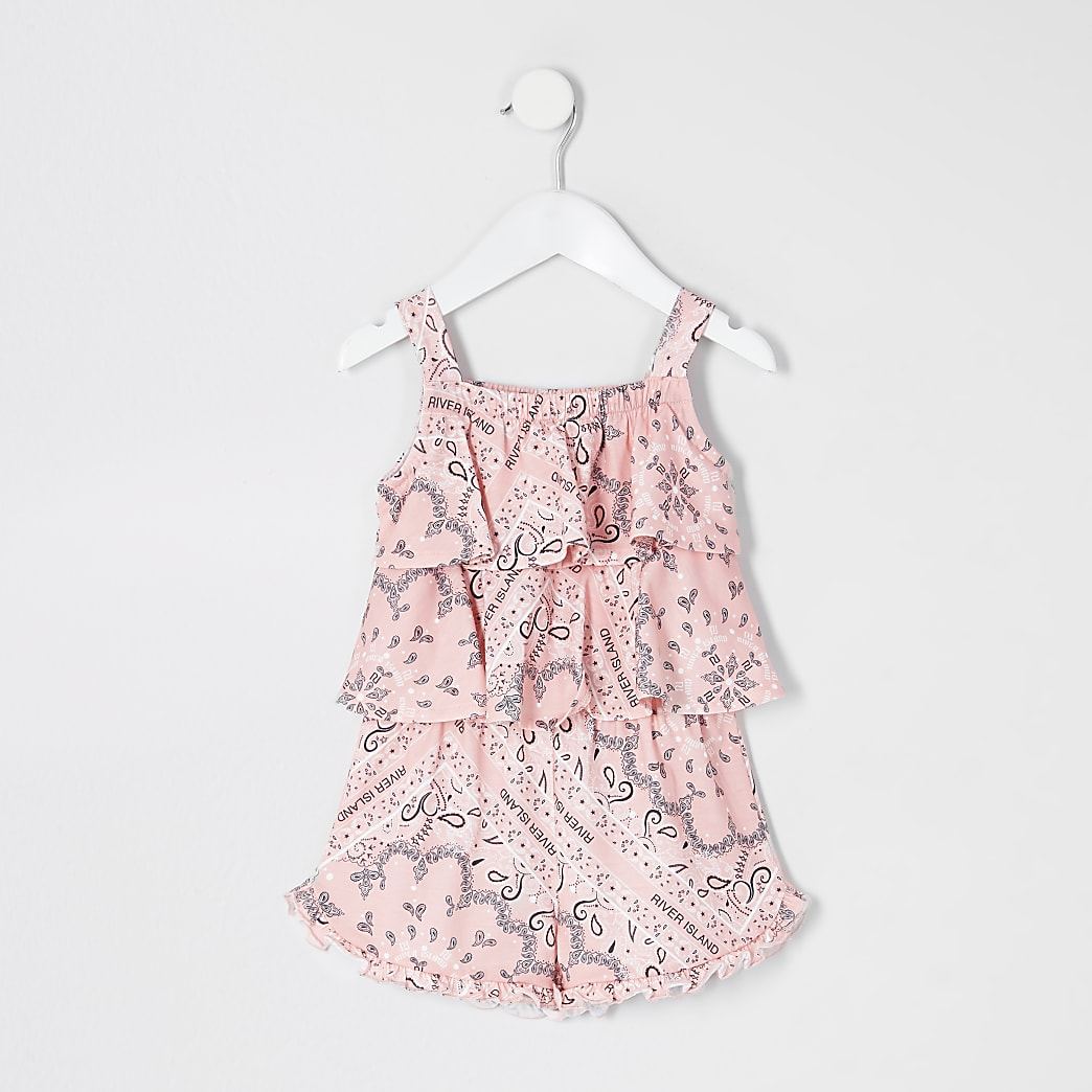 Mini girls coral bandana frill playsuit
