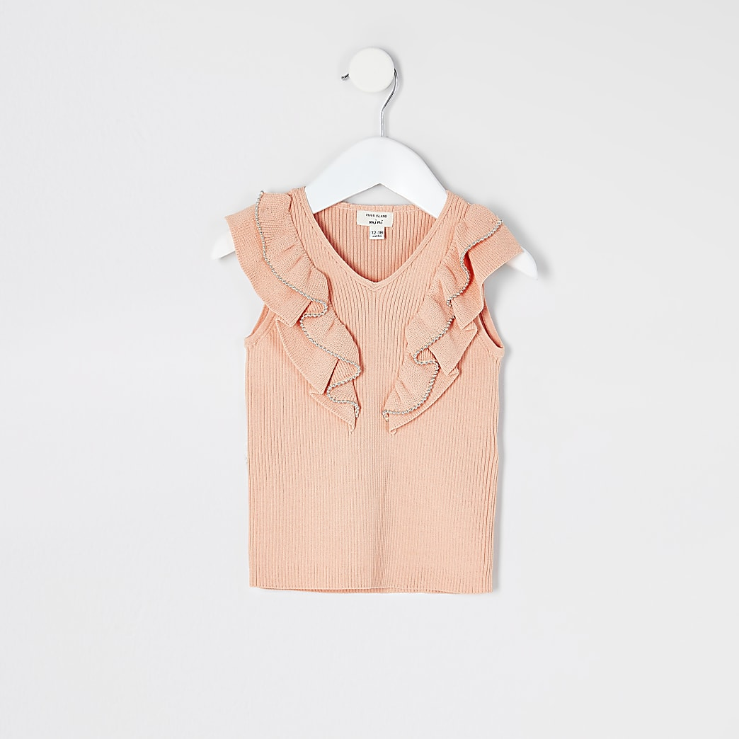 Mini girls coral beaded frill knitted top