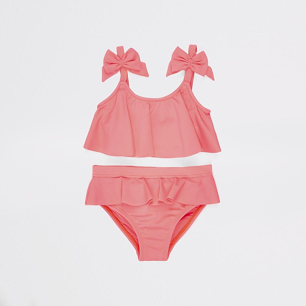 Mini - 'Coral' bikini met strik voor meisjes