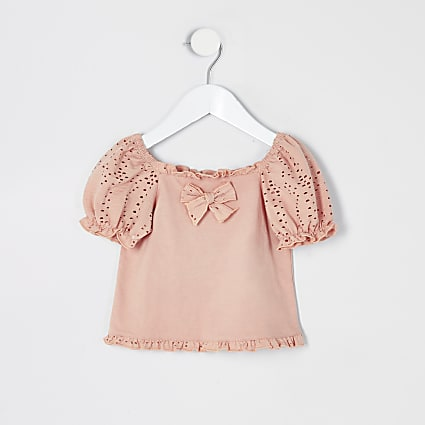Mini girls coral broderie puff sleeve top
