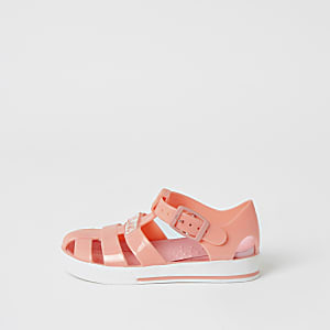 Mini girls coral caged jelly sandals