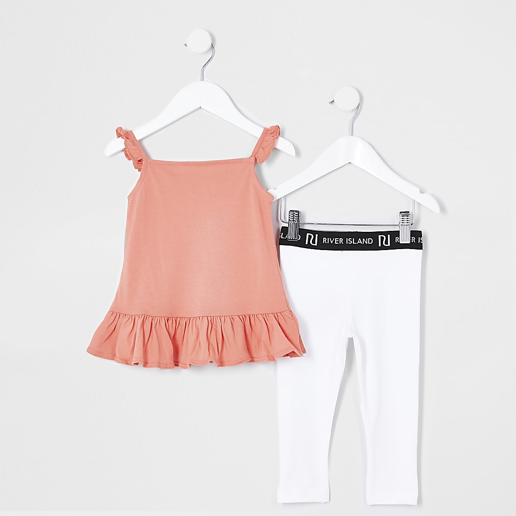 Mini girls coral cami and legging outfit