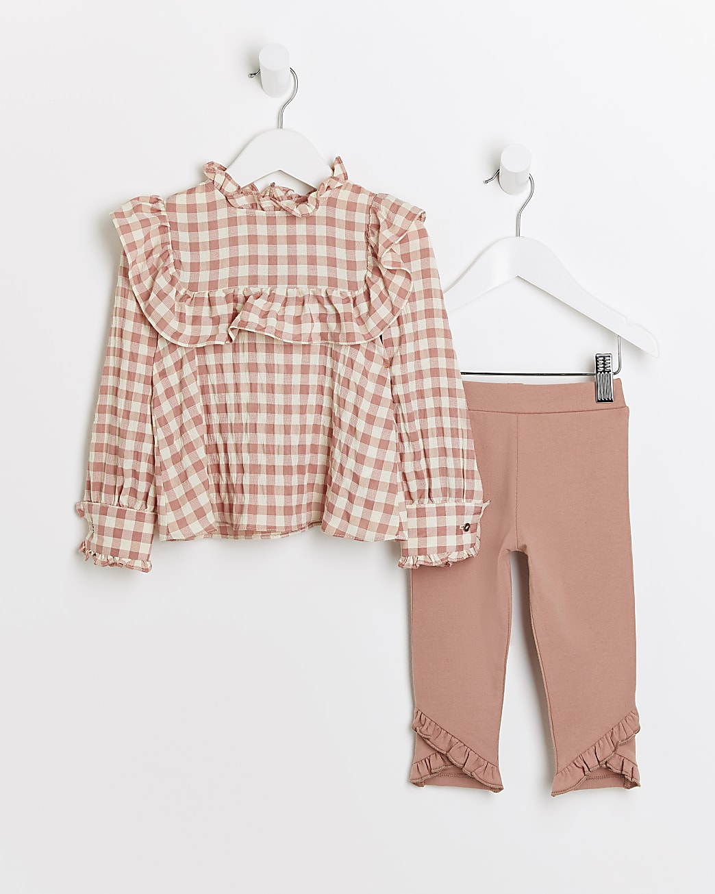 Mini girls coral check print blouse outfit
