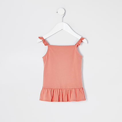 Mini girls coral frill cami top
