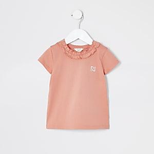 Mini – Korallrotes T-Shirt mit Rüschenkragen für Mädchen