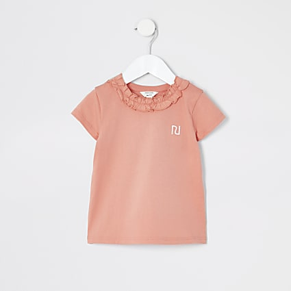 Mini girls coral frill neck T-shirt