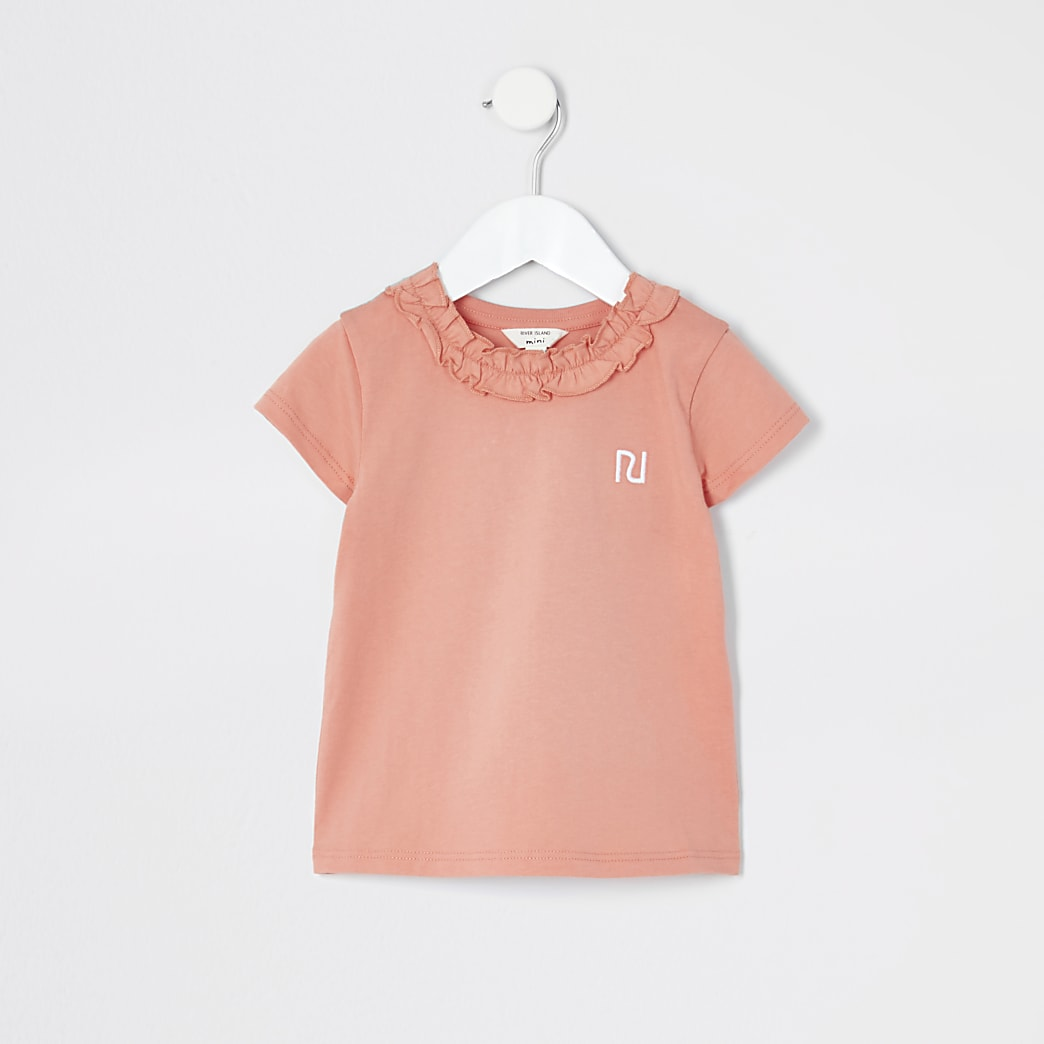 Mini girls coral frill neck T-shirt