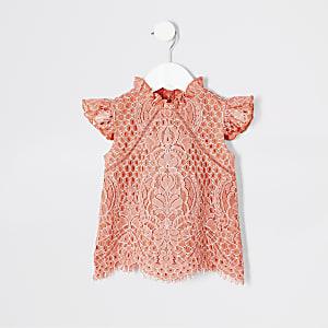 Mini - Koraalrode top met kant voor meisjes