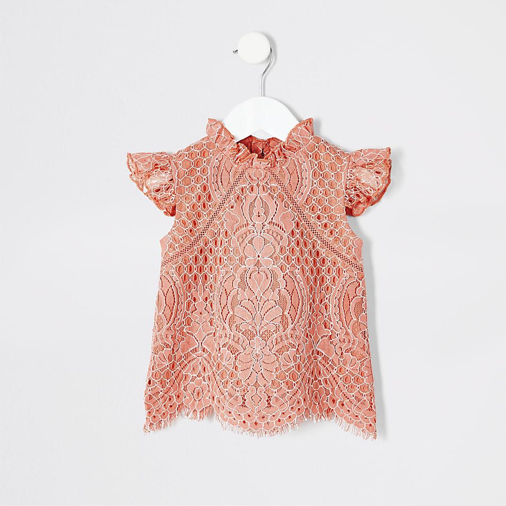 Mini girls coral lace top