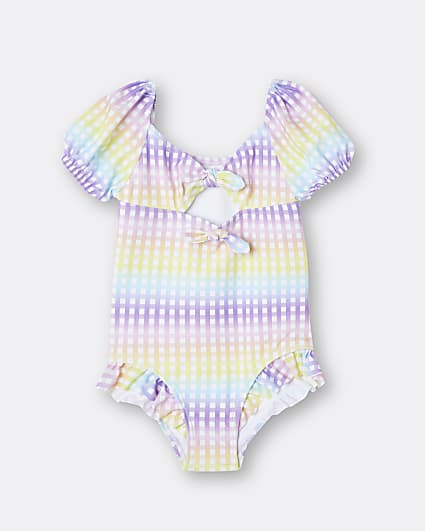 Mini girls coral puff sleeve gingham swimsuit
