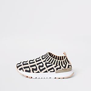 Mini - Koraalkleurige gebreide sneakers met RI-print voor meisjes