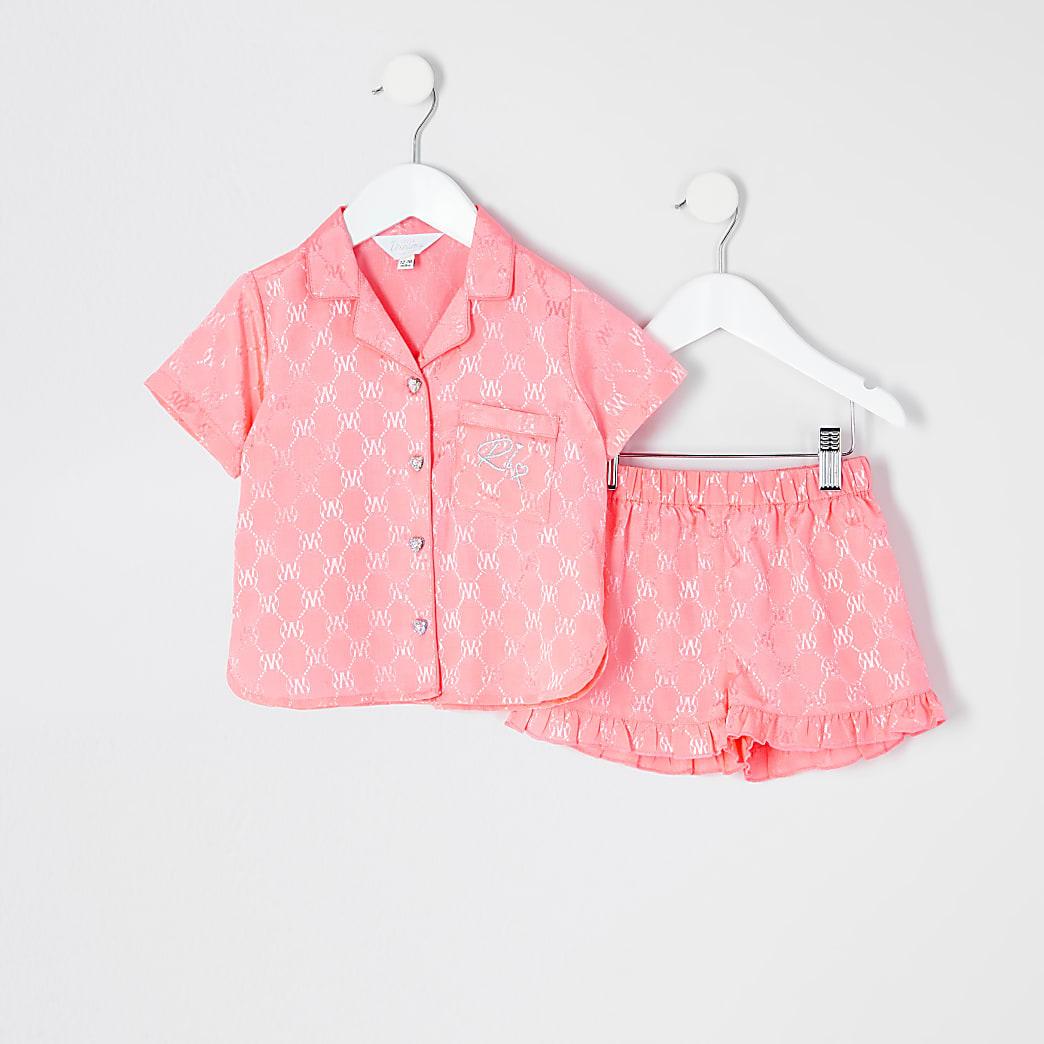 Mini girls coral RVR satin pyjamas