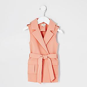 Mini - Koraalrode mouwloze blazer met strikceintuur voor meisjes