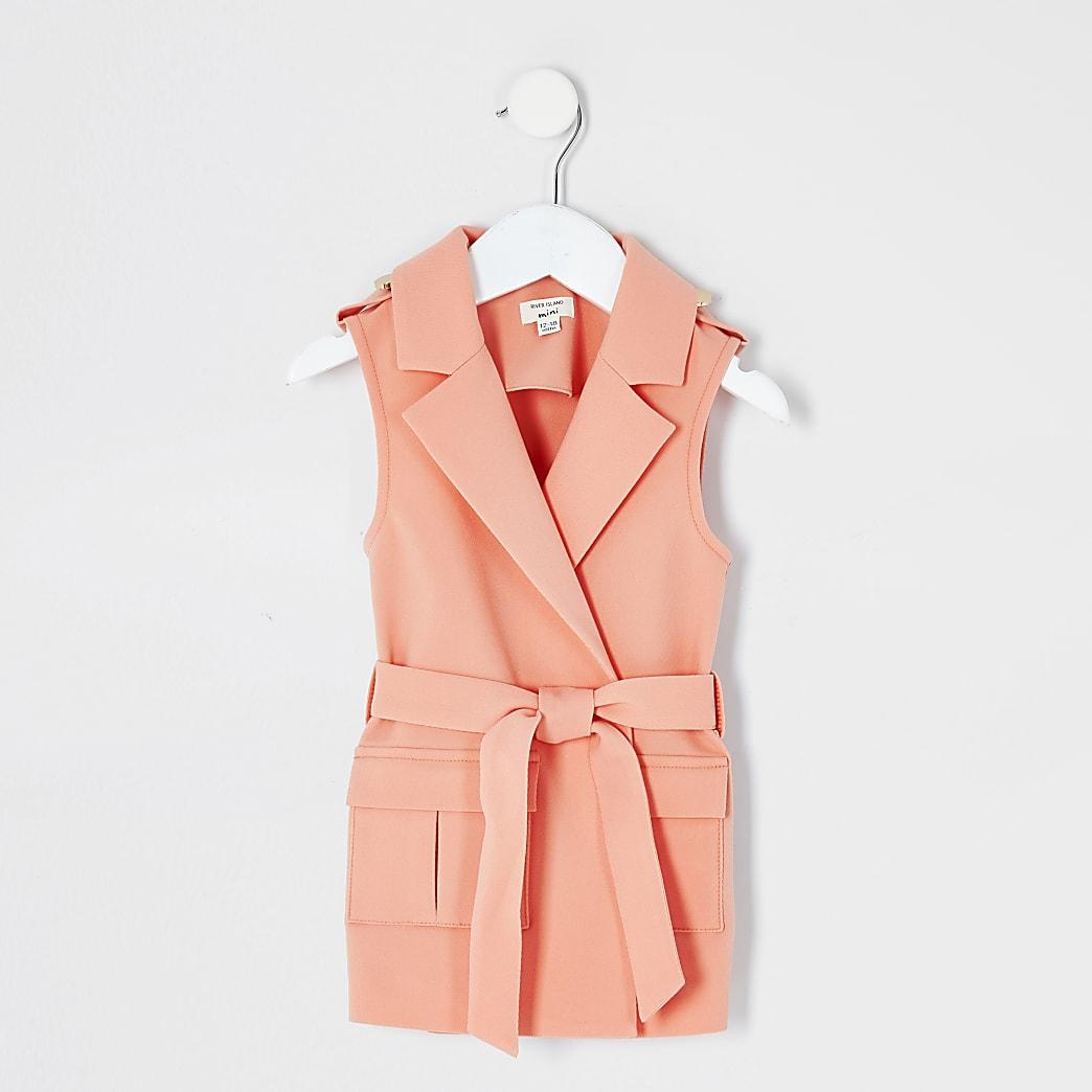 Mini girls coral sleeveless tie belted blazer