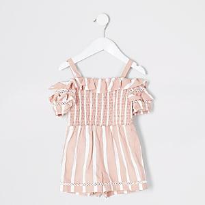 Mini - Koraalrode bardotplaysuit met strepen voor meisjes