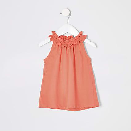Mini girls coral trapeze top
