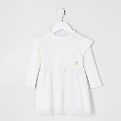Mini girls cream  lace hem dress