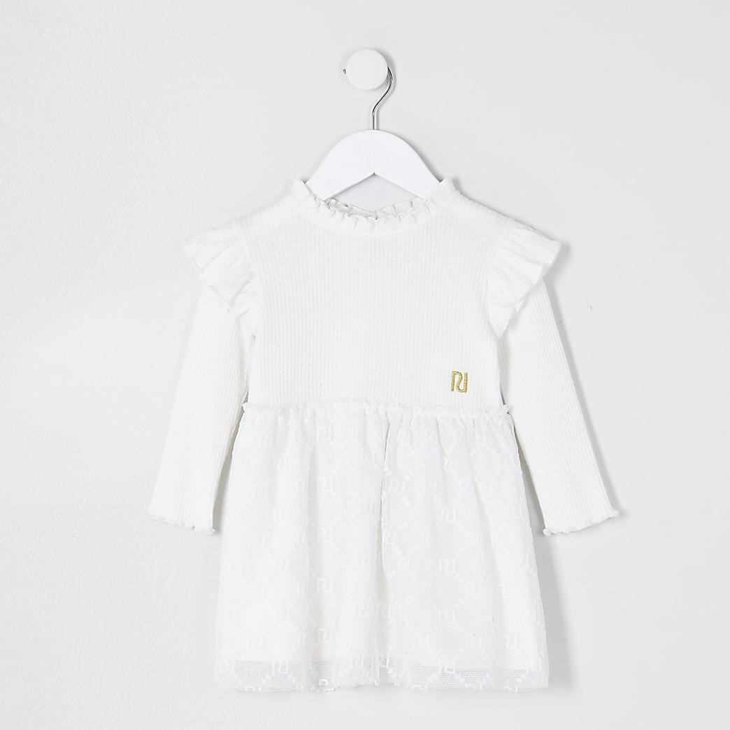 Mini girls cream  lace hem dress