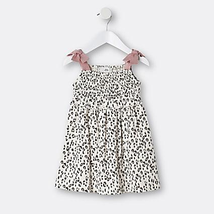 Mini girls cream animal print frill dress