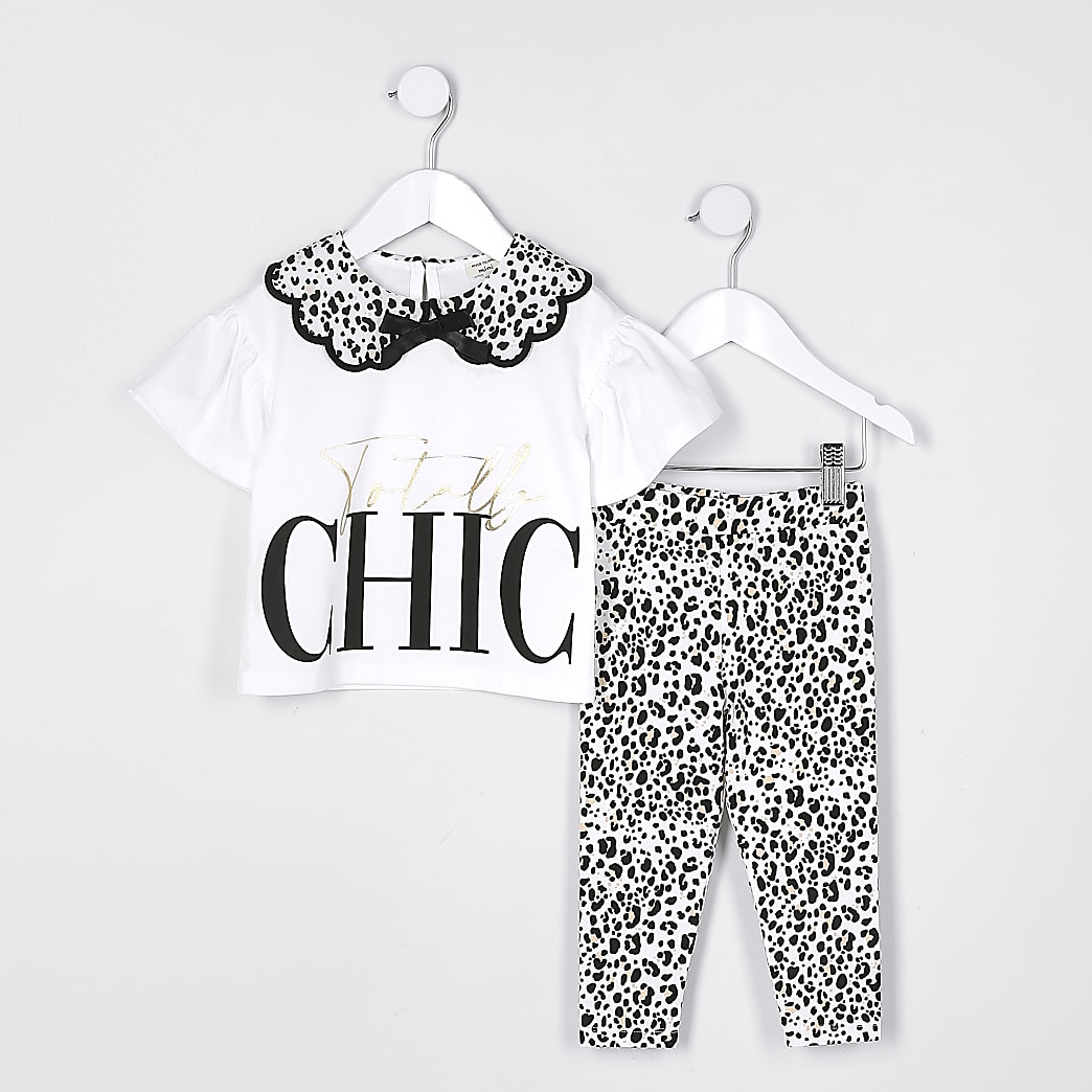 Mini girls cream animal print legging set