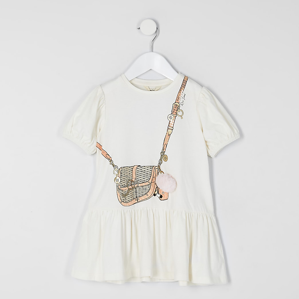 Mini girls cream bag printed T-shirt dress