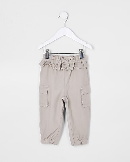 Mini girls cream belted cargo trousers