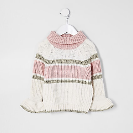 Mini girls cream block cable jumper