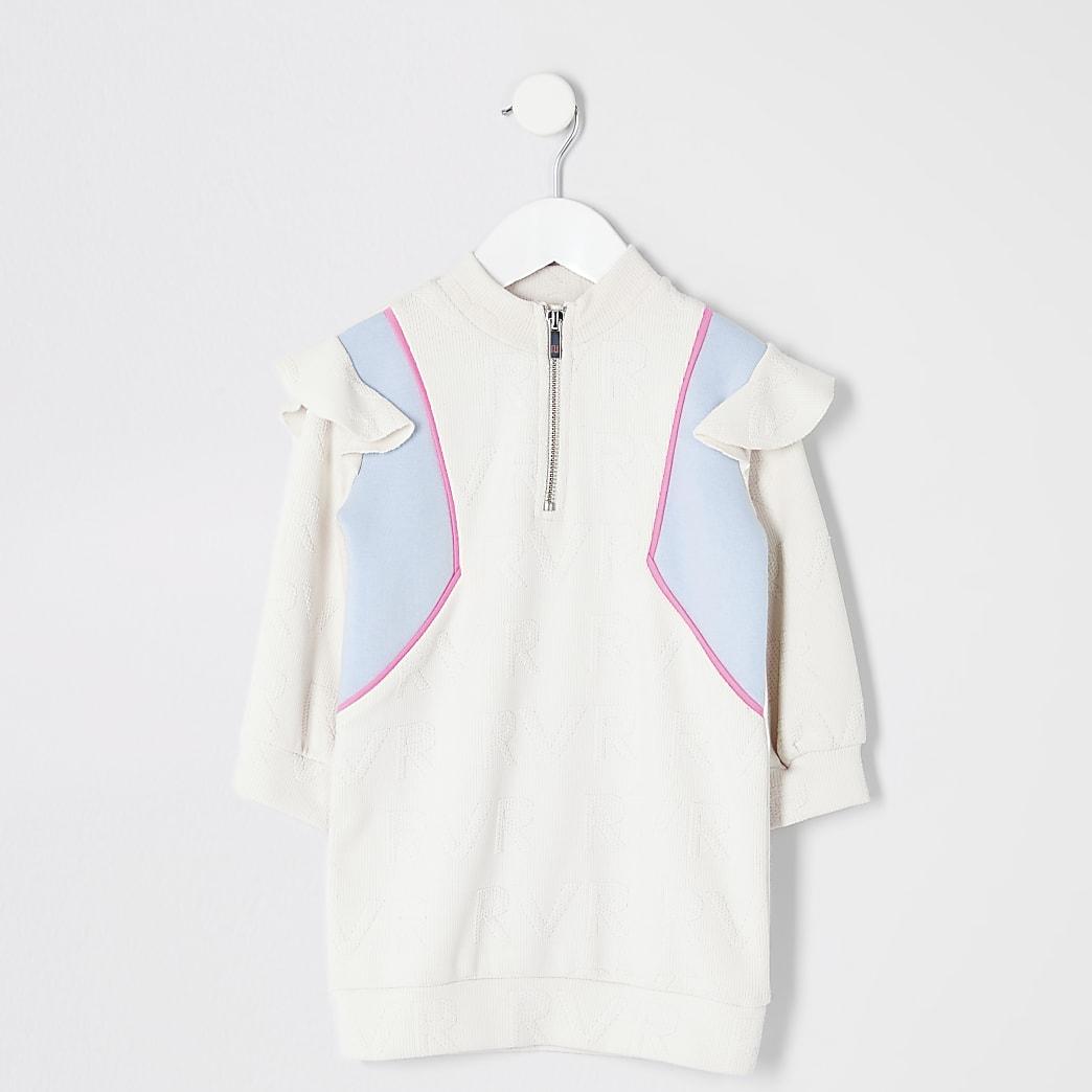 Mini girls cream blocked sweatshirt dress