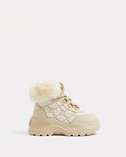 Mini girls cream borg faux fur hiker boots