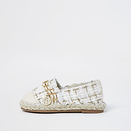 Mini girls cream boucle chain espadrille