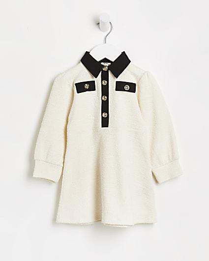 Mini girls cream boucle collar shift dress