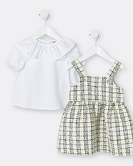 Mini girls cream boucle pinafore dress