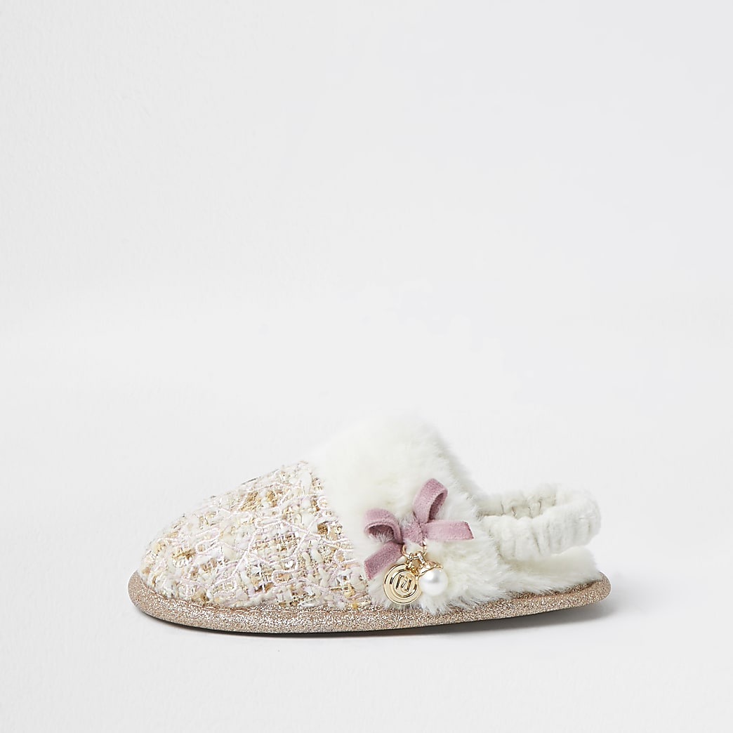 Mini girls cream boucle slippers