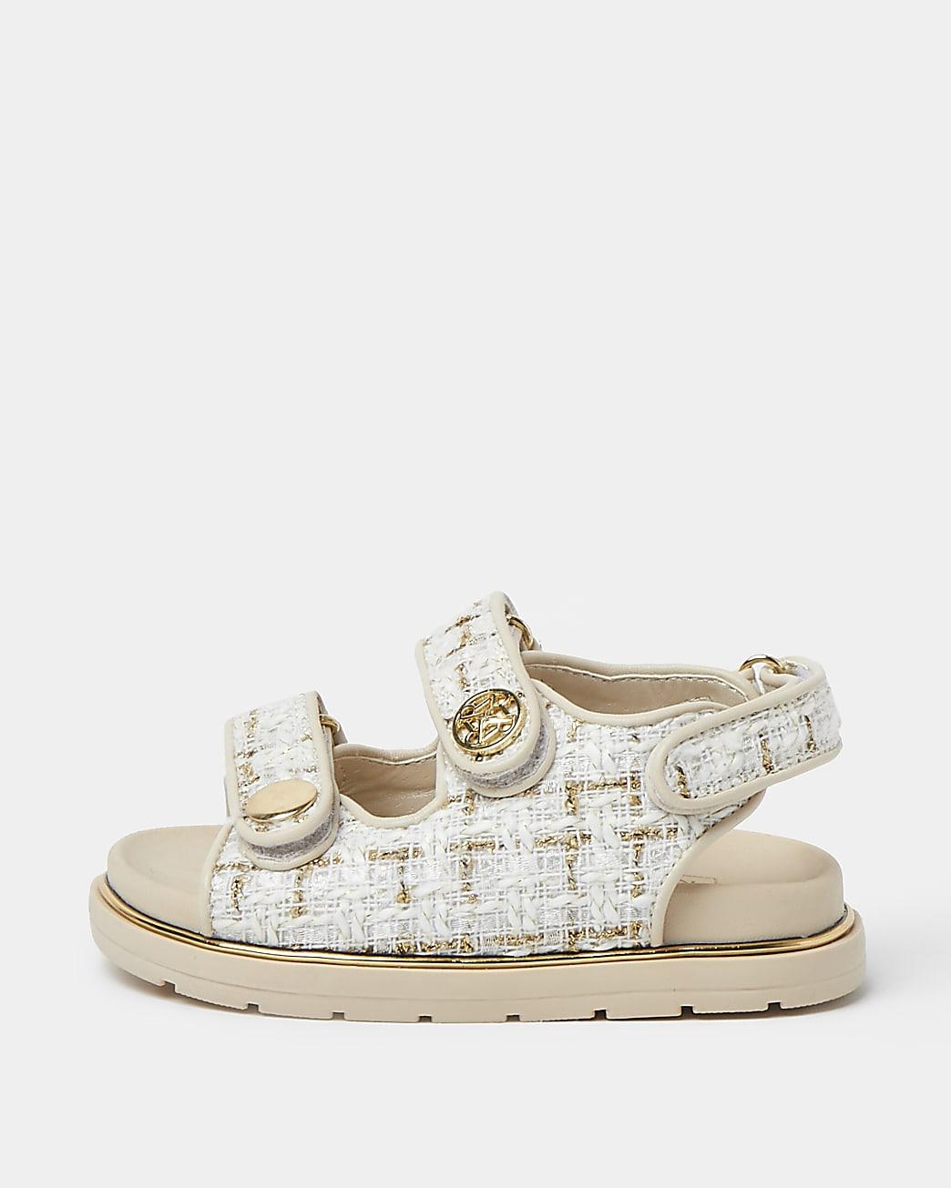 Mini girls cream boucle strap sandal