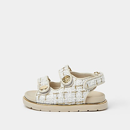 Mini girls cream boucle strap sandal
