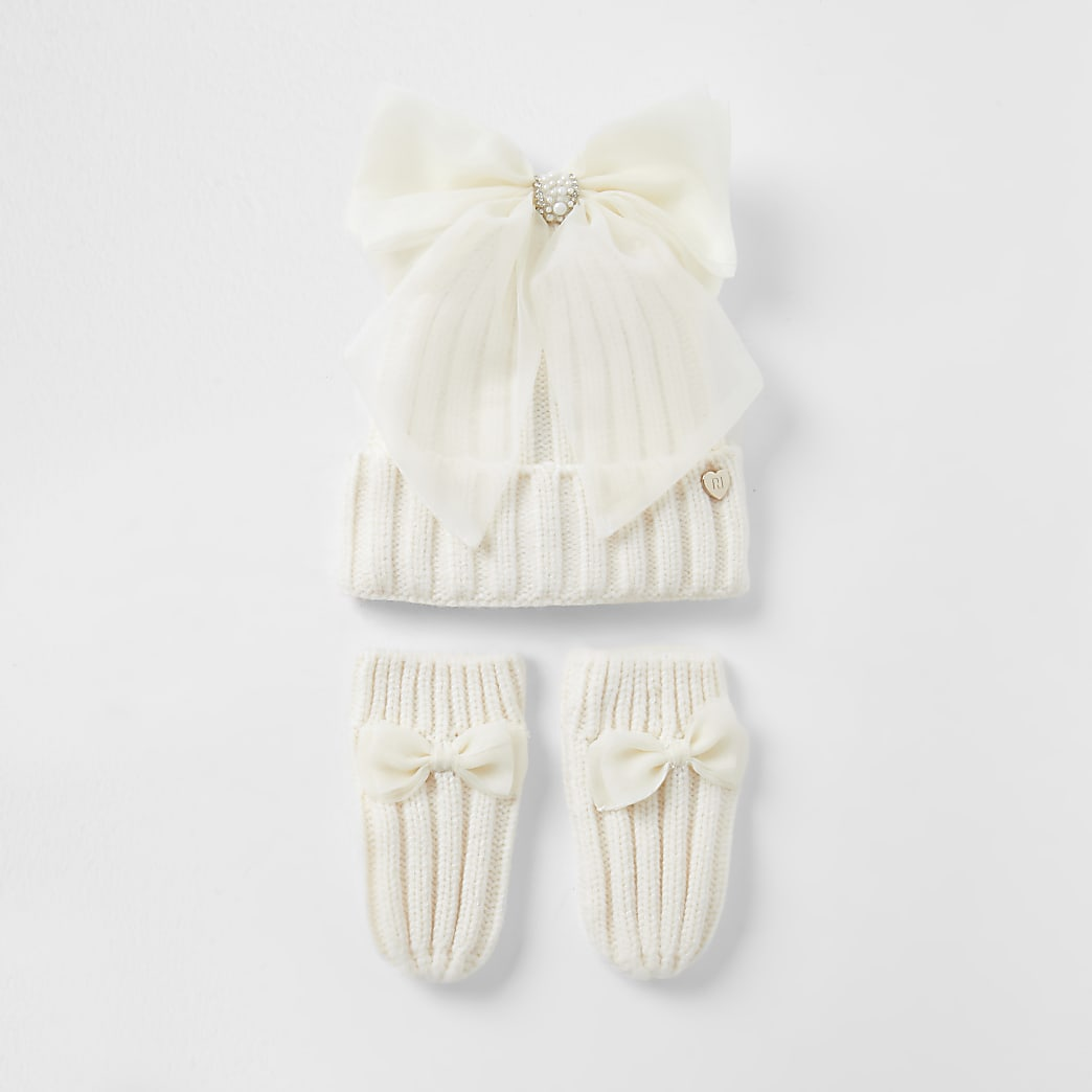 Mini girls cream bow beanie and gloves set