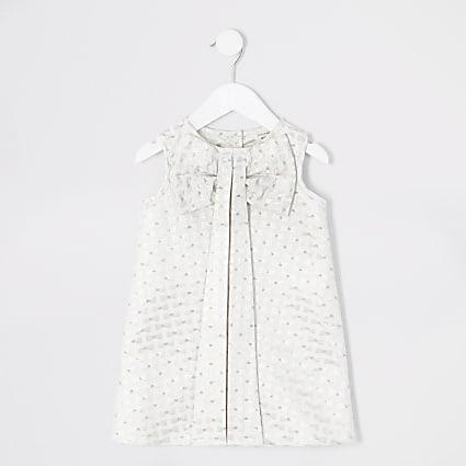 Mini girls cream bow embossed shift dress
