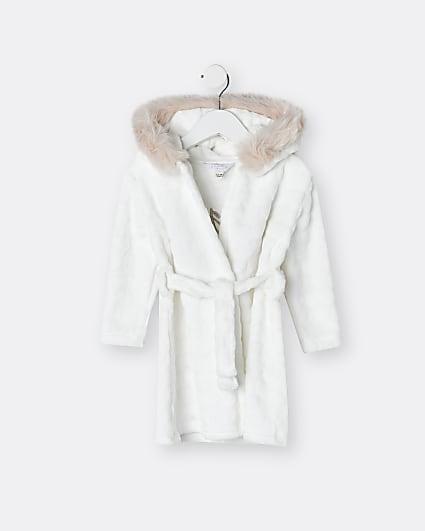 Mini girls cream bunny cosy faux fur robe