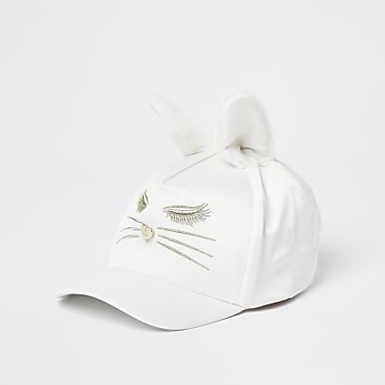 Mini girls cream bunny ear cap