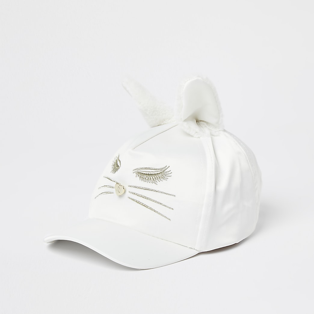Mini girls cream bunny ear cap