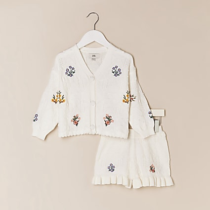 Mini girls cream cardigan and short outfit