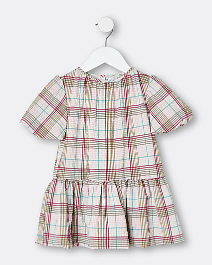 Mini girls cream check print smock dress
