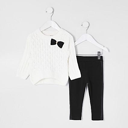 Mini girls cream chenille legging outfit