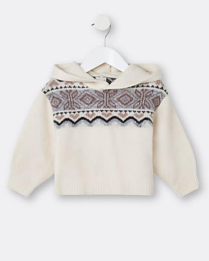 Mini girls cream chest design hooded jumper