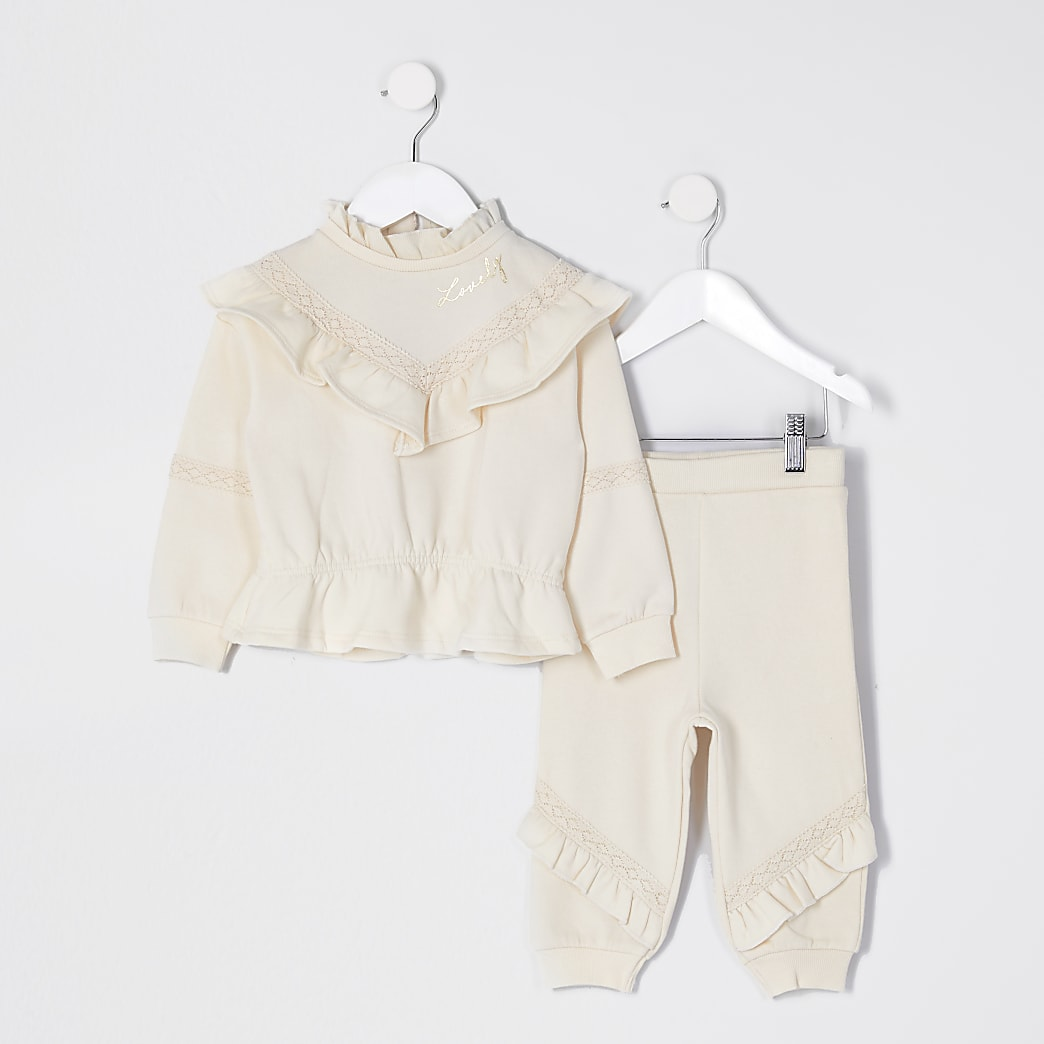 Mini girls cream chevron frill outfit