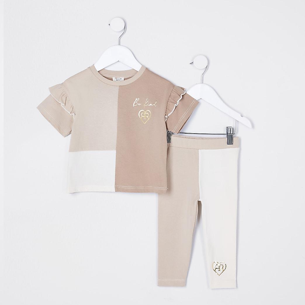 Mini girls cream colour block short set